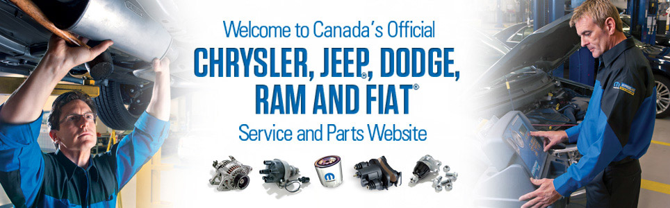 Welcome to Canada's Official Chrysler, Jeep®, Dodge, Ram and Fiat® Service and Parts Website.